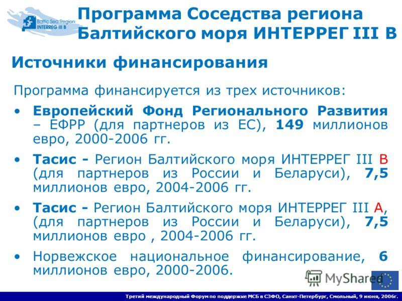 Третий международный Форум по поддержке МСБ в СЗФО, Санкт-Петербург, Смольный, 9 июня, 2006г. Программа Соседства региона Балтийского моря ИНТЕРРЕГ III B Программа финансируется из трех источников: Европейский Фонд Регионального Развития – ЕФРР (для