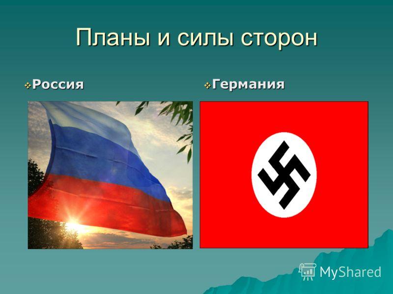 Планы и силы сторон Россия Россия Германия Германия