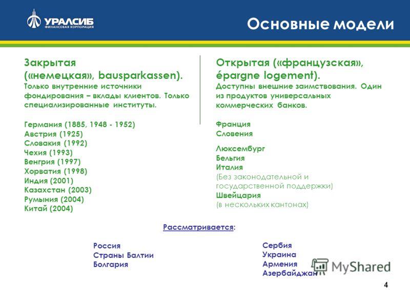4 Основные модели Германия (1885, 1948 - 1952) Австрия (1925) Словакия (1992) Чехия (1993) Венгрия (1997) Хорватия (1998) Индия (2001) Казахстан (2003) Румыния (2004) Китай (2004) Рассматривается: Россия Страны Балтии Болгария Люксембург Бельгия Итал
