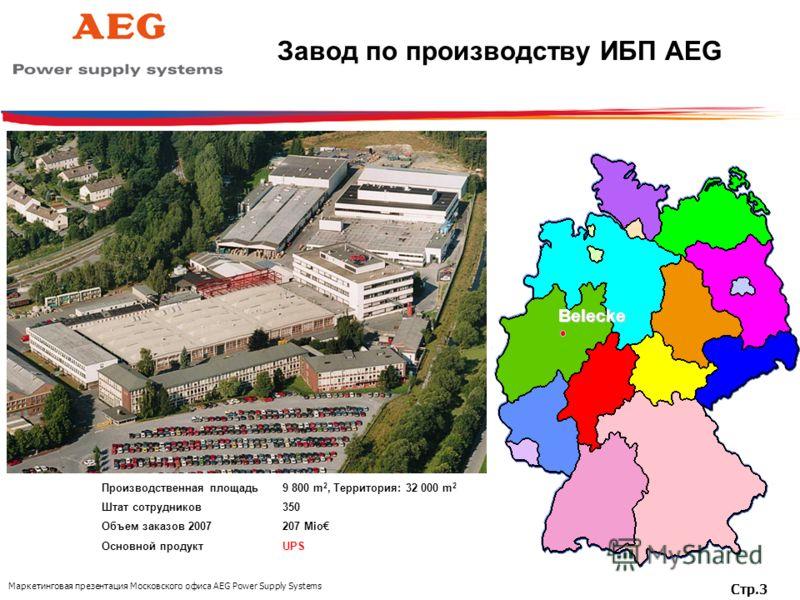 Маркетинговая презентация Московского офиса AEG Power Supply Systems Стр.3 Завод по производству ИБП AEGBelecke Производственная площадь9 800 m 2, Территория: 32 000 m 2 Штат сотрудников350 Объем заказов 2007207 Mio Основной продукт UPS