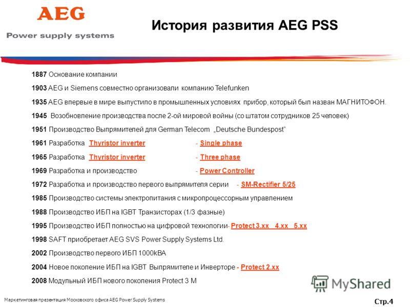 Маркетинговая презентация Московского офиса AEG Power Supply Systems Стр.4 1887 Основание компании 1903 AEG и Siemens совместно организовали компанию Telefunken 1935 AEG впервые в мире выпустило в промышленных условиях прибор, который был назван МАГН