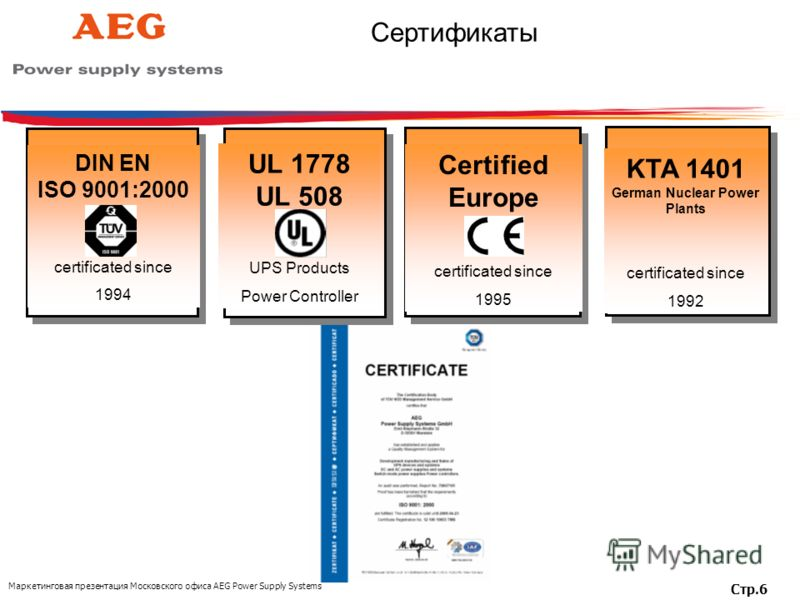 Маркетинговая презентация Московского офиса AEG Power Supply Systems Стр.6 DIN EN ISO 9001:2000 certificated since 1994 KTA 1401 German Nuclear Power Plants certificated since 1992 Certified Europe certificated since 1995 UL 1778 UL 508 UPS Products