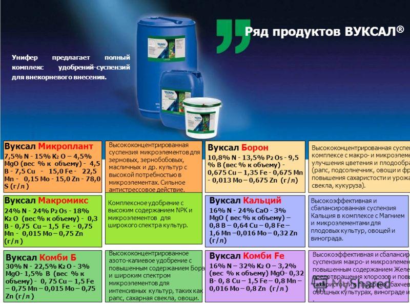 Ряд продуктов ВУКСАЛ ® Унифер предлагает полный комплекс удобрений-суспензий для внекорневого внесения. Высококонцентрированная суспензия микроэлементов для зерновых, зернобобовых, масличных и др. культур с высокой потребностью в микроэлементах. Силь