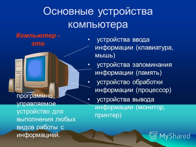Основные устройства компьютера устройства ввода информации (клавиатура, мышь) устройства запоминания информации (память) устройство обработки информации (процессор) устройства вывода информации (монитор, принтер) программно управляемое устройство для