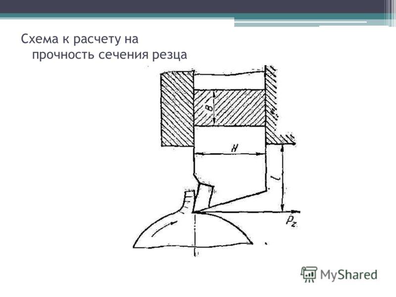 Схема к расчету на прочность сечения резца