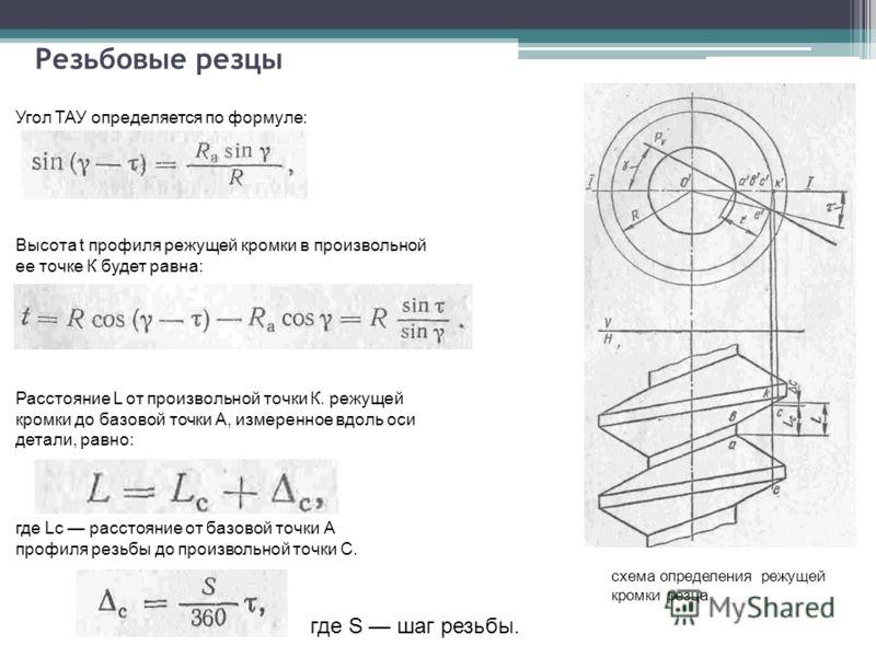 Резьбовые резцы схема определения режущей кромки резца где S шаг резьбы. Угол ТАУ определяется по формуле: Высота t профиля режущей кромки в произвольной ее точке К будет равна: Расстояние L от произвольной точки К. режущей кромки до базовой точки А,