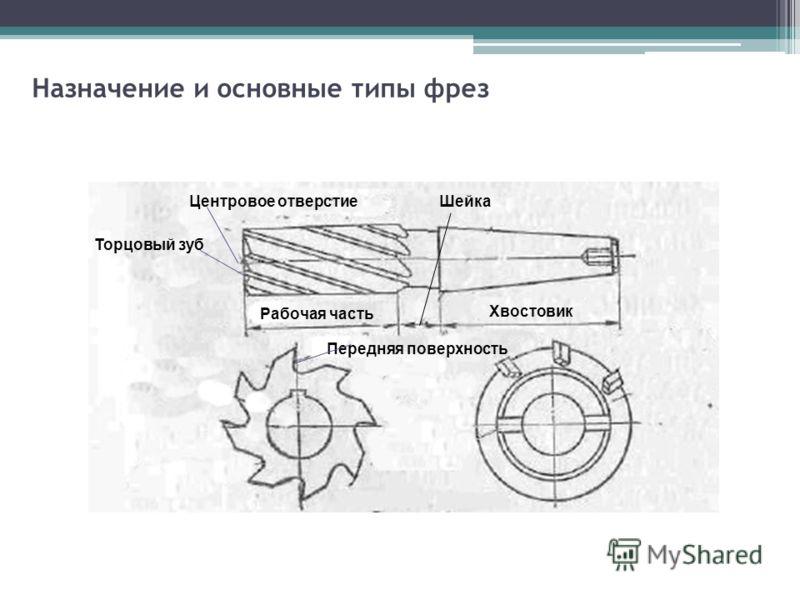 Назначение и основные типы фрез Центровое отверстие Торцовый зуб Рабочая часть Хвостовик Шейка Передняя поверхность