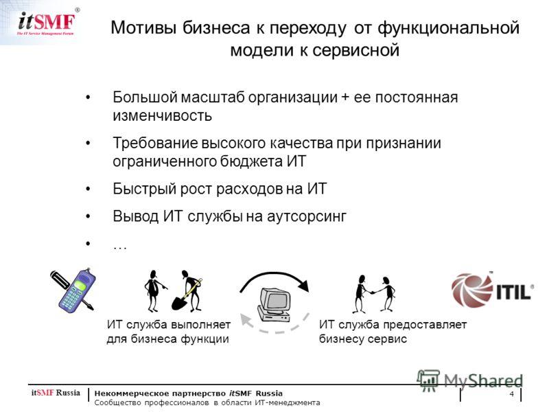 Некоммерческое партнерство itSMF Russia Сообщество профессионалов в области ИТ-менеджмента 4 Мотивы бизнеса к переходу от функциональной модели к сервисной Большой масштаб организации + ее постоянная изменчивость Требование высокого качества при приз