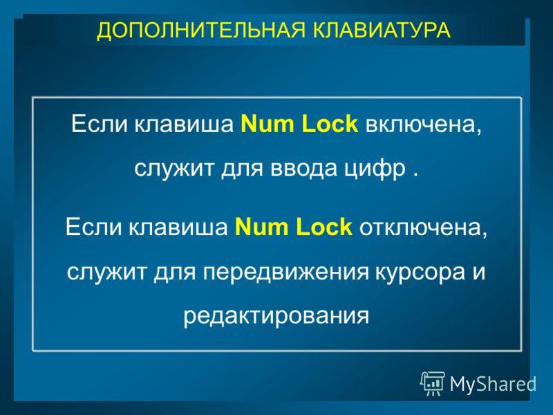 ДОПОЛНИТЕЛЬНАЯ КЛАВИАТУРА Если клавиша Num Lock включена, служит для ввода цифр. Если клавиша Num Lock отключена, служит для передвижения курсора и редактирования