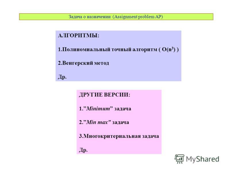 АЛГОРИТМЫ: 1.Полиномиальный точный алгоритм ( O(n 3 ) ) 2.Венгерский метод Др. ДРУГИЕ ВЕРСИИ: 1.Minimum задача 2.Min max задача 3.Многокритериальная задача Др. Задача о назначении (Assignment problem AP)