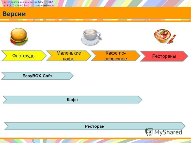Версии Фастфуды Маленькие кафе Кафе по- серьезнее Рестораны EasyBOX Cafe Кафе Ресторан
