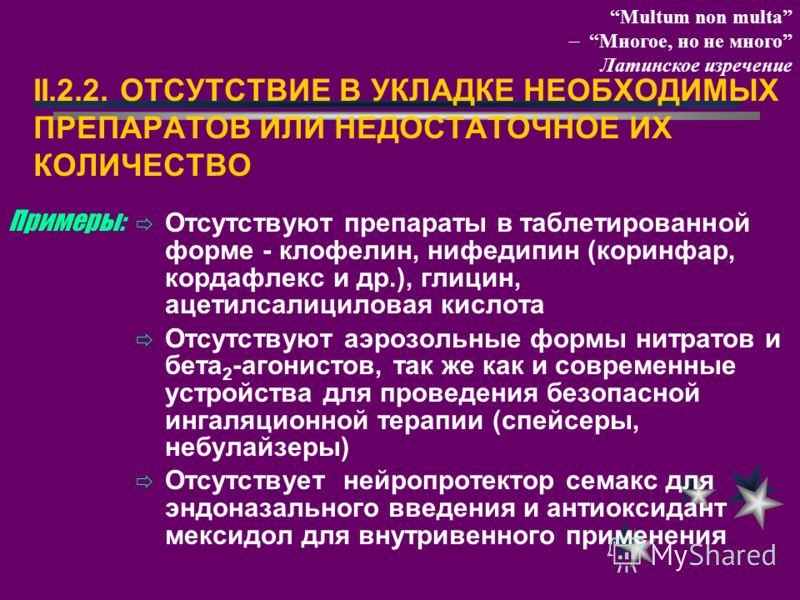 II.2.2. ОТСУТСТВИЕ В УКЛАДКЕ НЕОБХОДИМЫХ ПРЕПАРАТОВ ИЛИ НЕДОСТАТОЧНОЕ ИХ КОЛИЧЕСТВО Отсутствуют препараты в таблетированной форме - клофелин, нифедипин (коринфар, кордафлекс и др.), глицин, ацетилсалициловая кислота Отсутствуют аэрозольные формы нитр