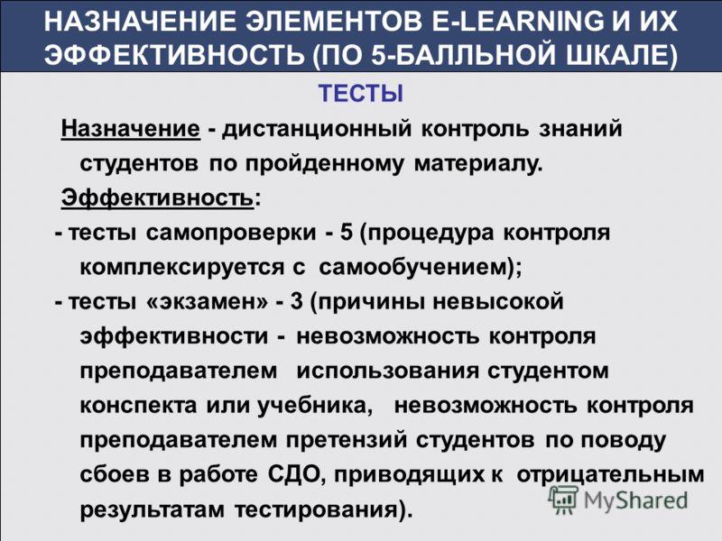 НАЗНАЧЕНИЕ ЭЛЕМЕНТОВ E-LEARNING И ИХ ЭФФЕКТИВНОСТЬ (ПО 5-БАЛЛЬНОЙ ШКАЛЕ) ТЕСТЫ Назначение - дистанционный контроль знаний студентов по пройденному материалу. Эффективность: - тесты самопроверки - 5 (процедура контроля комплексируется с самообучением)