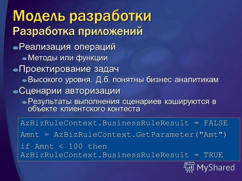 Модель разработки Разработка приложений Реализация операций Методы или функции Проектирование задач Высокого уровня. Д.б. понятны бизнес аналитикам Сценарии авторизации Результаты выполнения сценариев кэшируются в объекте клиентского контеста AzBizRu