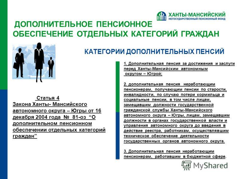 ДОПОЛНИТЕЛЬНОЕ ПЕНСИОННОЕ ОБЕСПЕЧЕНИЕ ОТДЕЛЬНЫХ КАТЕГОРИЙ ГРАЖДАН Статья 4 Закона Ханты- Мансийского автономного округа – Югры от 16 декабря 2004 года 81-оз О дополнительном пенсионном обеспечении отдельных категорий граждан 1. Дополнительная пенсия