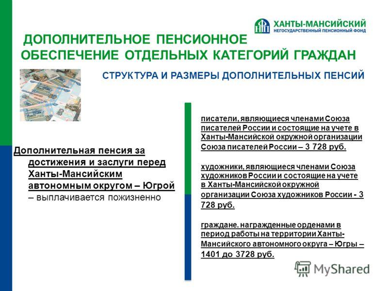 ДОПОЛНИТЕЛЬНОЕ ПЕНСИОННОЕ ОБЕСПЕЧЕНИЕ ОТДЕЛЬНЫХ КАТЕГОРИЙ ГРАЖДАН Дополнительная пенсия за достижения и заслуги перед Ханты-Мансийским автономным округом – Югрой – выплачивается пожизненно СТРУКТУРА И РАЗМЕРЫ ДОПОЛНИТЕЛЬНЫХ ПЕНСИЙ писатели, являющиес
