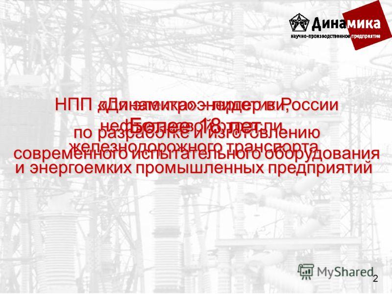 для электроэнергетики, нефтегазовой отрасли, железнодорожного транспорта и энергоемких промышленных предприятий НПП «Динамика» - лидер в России по разработке и изготовлению современного испытательного оборудования Более 18 лет 2