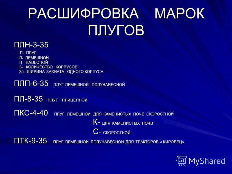 РАСШИФРОВКА МАРОК ПЛУГОВ ПЛН-3-35 П- ПЛУГ П- ПЛУГ Л- ЛЕМЕШНОЙ Л- ЛЕМЕШНОЙ Н- НАВЕСНОЙ Н- НАВЕСНОЙ 3- КОЛИЧЕСТВО КОРПУСОВ 3- КОЛИЧЕСТВО КОРПУСОВ 35- ШИРИНА ЗАХВАТА ОДНОГО КОРПУСА 35- ШИРИНА ЗАХВАТА ОДНОГО КОРПУСА ПЛП-6-35 ПЛУГ ЛЕМЕШНОЙ ПОЛУНАВЕСНОЙ ПЛ