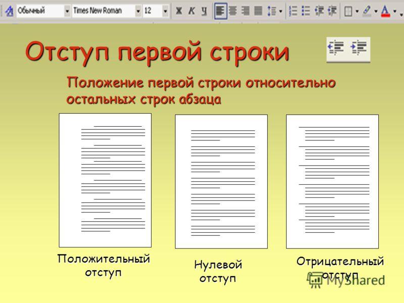 Отступ первой строки Положительный отступ Отрицательный отступ Положение первой строки относительно остальных строк абзаца