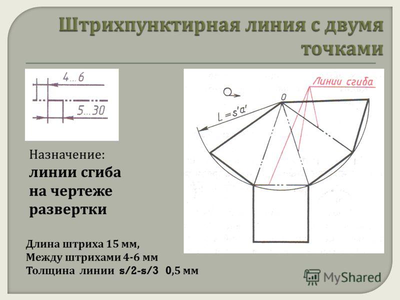 Назначение: линии сгиба на чертеже развертки Длина штриха 15 мм, Между штрихами 4-6 мм Толщина линии s/2-s/3 0,5 мм