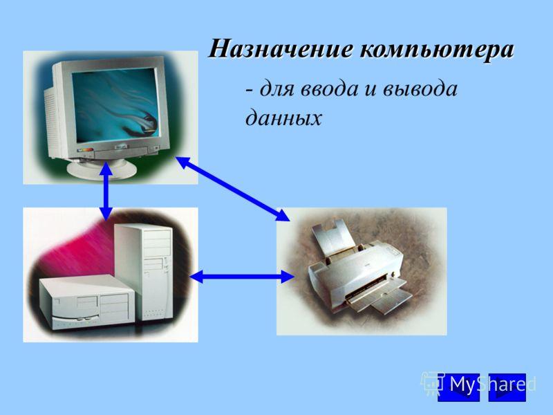 Назначение компьютера - для ввода и вывода данных