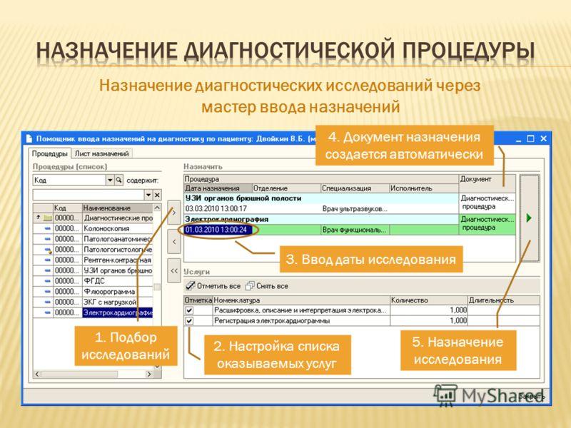 Назначение диагностических исследований через мастер ввода назначений 3. Ввод даты исследования 2. Настройка списка оказываемых услуг 5. Назначение исследования 1. Подбор исследований 4. Документ назначения создается автоматически