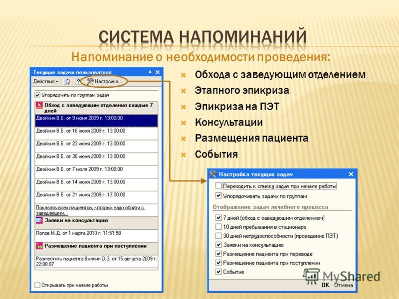 Напоминание о необходимости проведения: Обхода с заведующим отделением Этапного эпикриза Эпикриза на ПЭТ Консультации Размещения пациента События