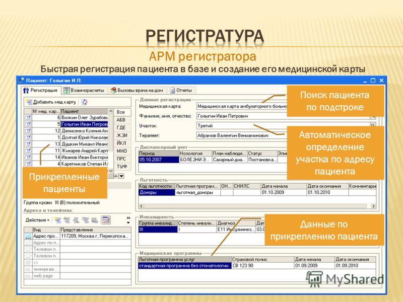 Поиск пациента по подстроке Автоматическое определение участка по адресу пациента Прикрепленные пациенты Данные по прикреплению пациента АРМ регистратора Быстрая регистрация пациента в базе и создание его медицинской карты