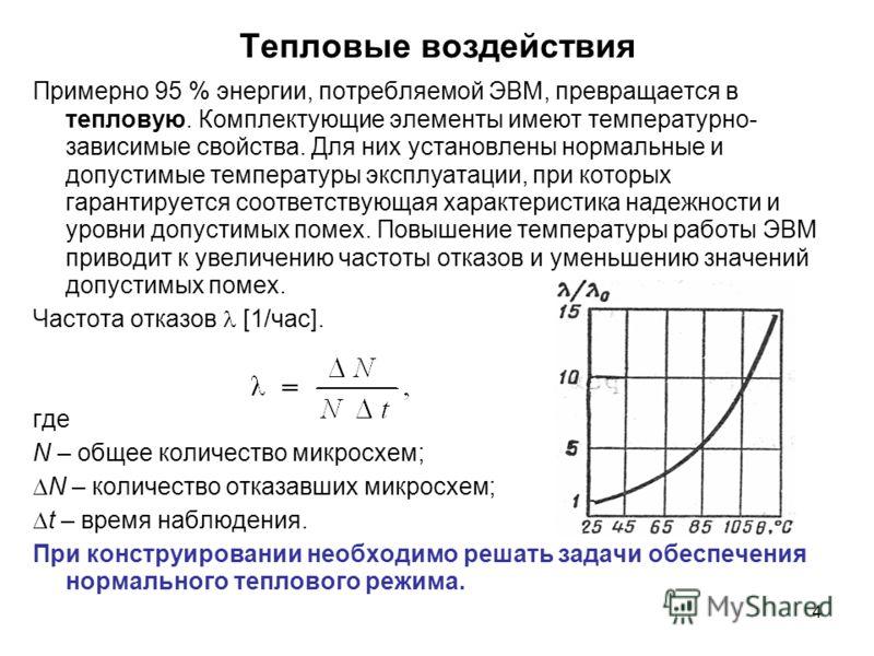 4 Тепловые воздействия Примерно 95 % энергии, потребляемой ЭВМ, превращается в тепловую. Комплектующие элементы имеют температурно- зависимые свойства. Для них установлены нормальные и допустимые температуры эксплуатации, при которых гарантируется со