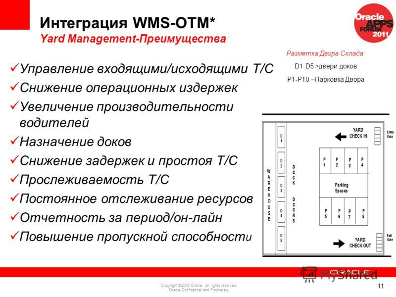 11 Copyright ©2009 Oracle. All rights reserved. Oracle Confidential and Proprietary Интеграция WMS-OTM* Yard Management-Преимущества Управление входящими/исходящими Т/С Снижение операционных издержек Увеличение производительности водителей Назначение