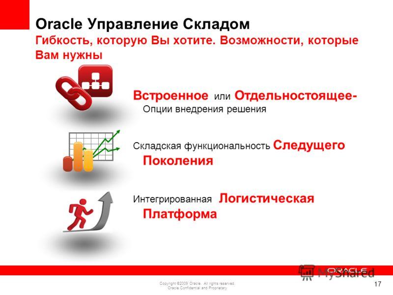 17 Copyright ©2009 Oracle. All rights reserved. Oracle Confidential and Proprietary Oracle Управление Складом Гибкость, которую Вы хотите. Возможности, которые Вам нужны Встроенное или Отдельностоящее- Опции внедрения решения Складская функциональнос