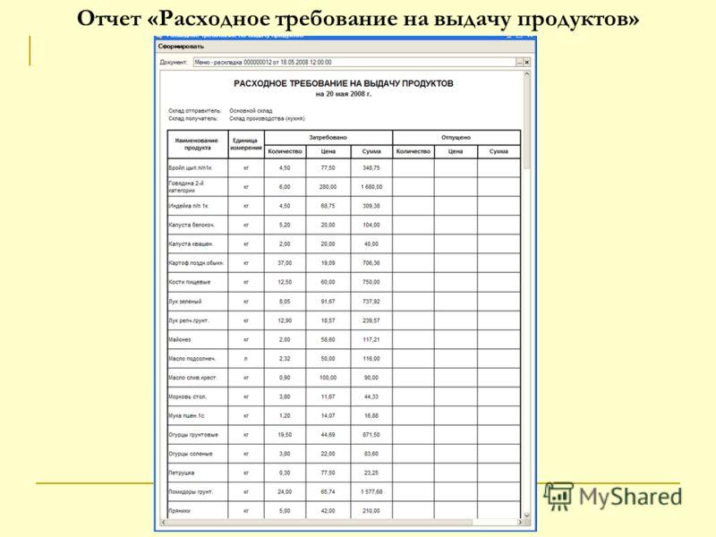Отчет «Расходное требование на выдачу продуктов»