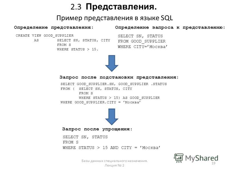 2.3 Представления. Пример представления в языке SQL 19 Базы данных специального назначения. Лекция 2 CREATE VIEW GOOD_SUPPLIER ASSELECT SN, STATUS, CITY FROM S WHERE STATUS > 15. SELECT SN, STATUS FROM GOOD_SUPPLIER WHERE CITY=Москва Определение пред
