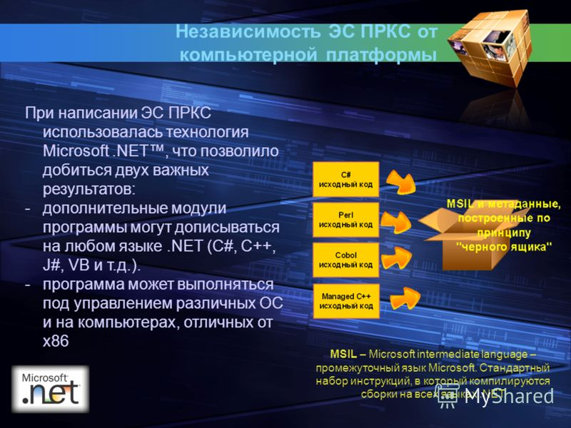 Независимость ЭС ПРКС от компьютерной платформы При написании ЭС ПРКС использовалась технология Microsoft.NET, что позволило добиться двух важных результатов: -дополнительные модули программы могут дописываться на любом языке.NET (С#, C++, J#, VB и т