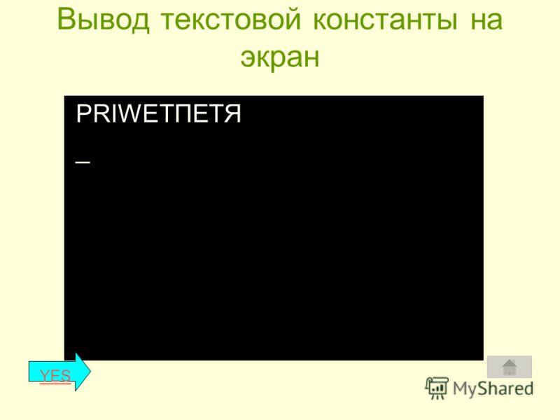 1.Процедуры вывода текстовой константы Назначение: для вывода текстовой константы на экран монитора. Текстовая константа - набор любых символов, заключенных в апострофы (клавиша Э – латинский нижний регистр). Общий вид: write ( Текстовая константа);