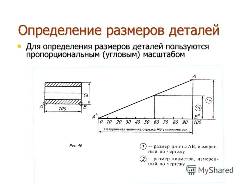 Определение размеров деталей Для определения размеров деталей пользуются пропорциональным (угловым) масштабом Для определения размеров деталей пользуются пропорциональным (угловым) масштабом