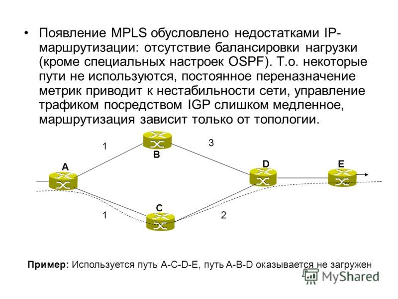 Появление MPLS обусловлено недостатками IP- маршрутизации: отсутствие балансировки нагрузки (кроме специальных настроек OSPF). Т.о. некоторые пути не используются, постоянное переназначение метрик приводит к нестабильности сети, управление трафиком п