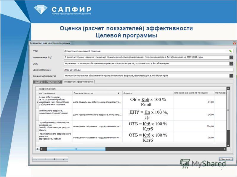 7 Оценка (расчет показателей) эффективности Целевой программы