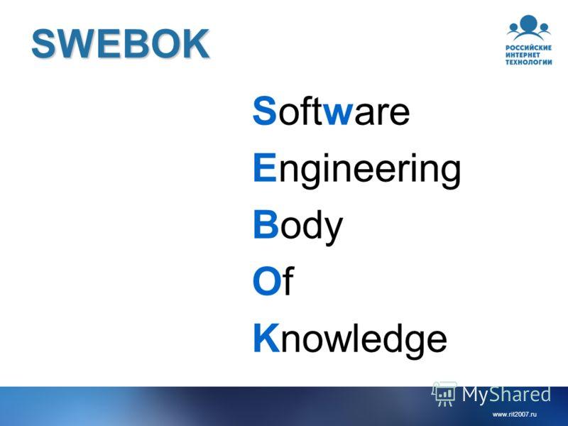 www.rit2007.ru SWEBOK Software Engineering Body OfOf Knowledge