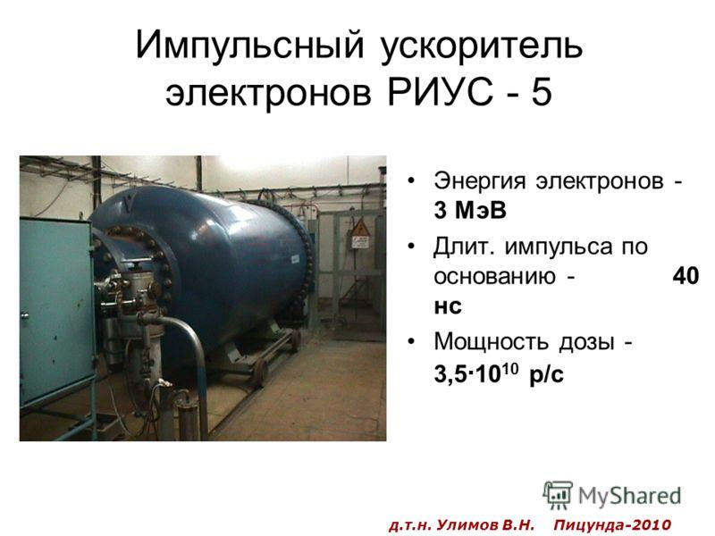 Импульсный ускоритель электронов РИУС - 5 Энергия электронов - 3 МэВ Длит. импульса по основанию - 40 нс Мощность дозы - 3,5 · 10 10 р/с д.т.н. Улимов В.Н. Пицунда-2010