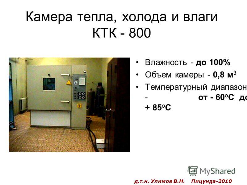 Камера тепла, холода и влаги КТК - 800 Влажность - до 100% Объем камеры - 0,8 м 3 Температурный диапазон - от - 60 о С до + 85 о С д.т.н. Улимов В.Н. Пицунда-2010