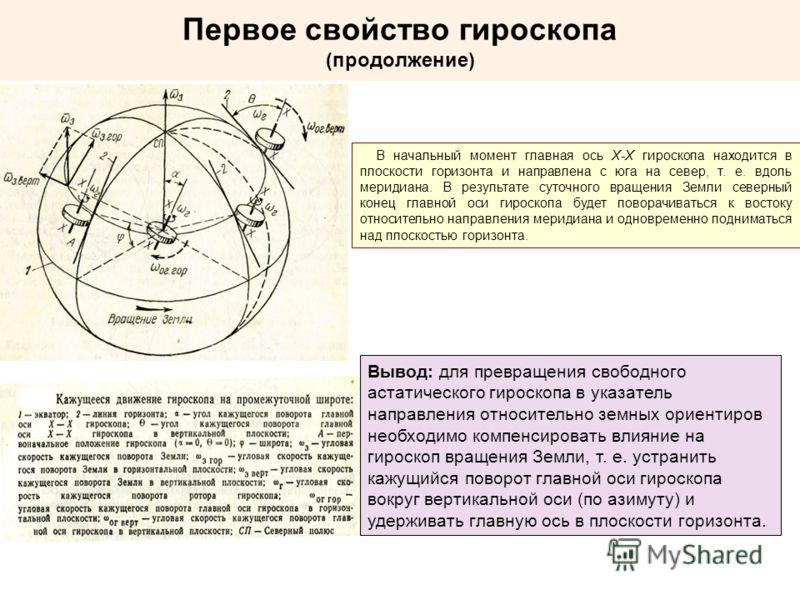 Первое свойство гироскопа (продолжение) В начальный момент главная ось X-X гироскопа находится в плоскости горизонта и направлена с юга на север, т. е. вдоль меридиана. В результате суточного вращения Земли северный конец главной оси гироскопа будет