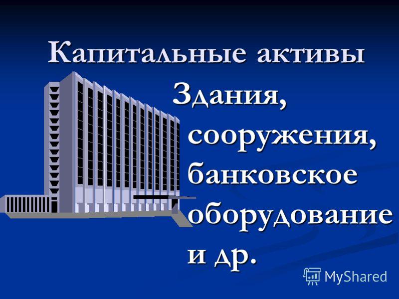 Капитальные активы Здания, сооружения, банковское оборудование и др.