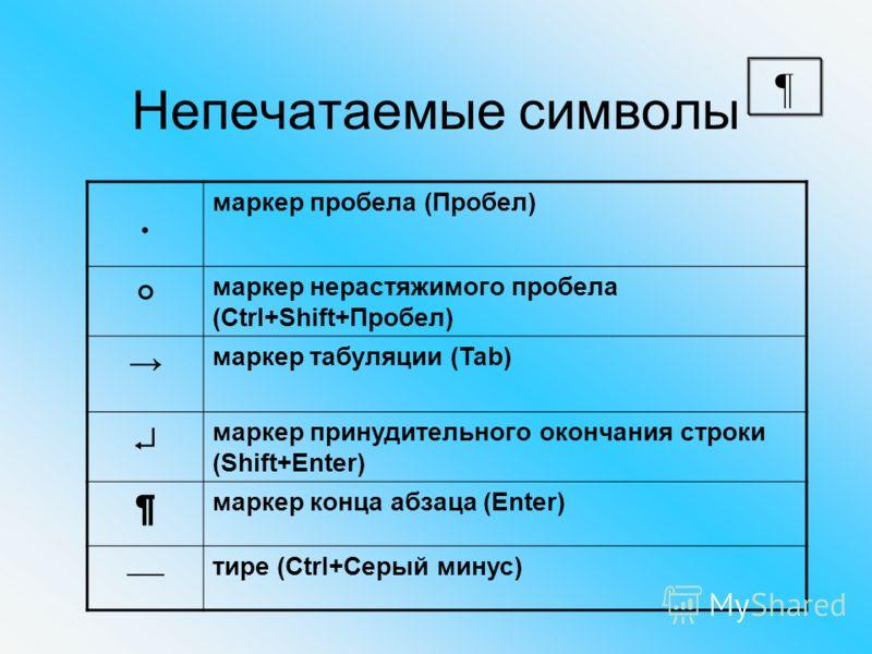 Непечатаемые символы маркер пробела (Пробел) маркер нерастяжимого пробела (Ctrl+Shift+Пробел) маркер табуляции (Tab) маркер принудительного окончания строки (Shift+Enter) ¶ маркер конца абзаца (Enter) тире (Ctrl+Серый минус) ¶