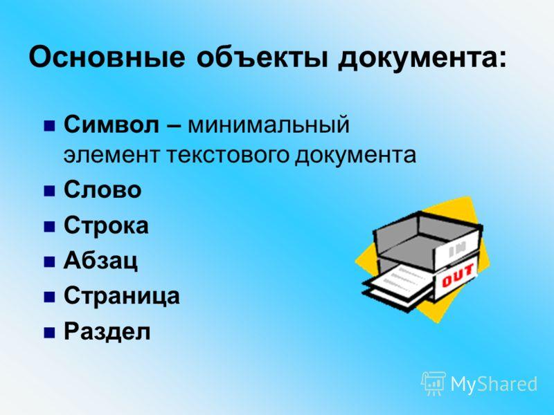 Основные объекты документа: Символ – минимальный элемент текстового документа Слово Строка Абзац Страница Раздел