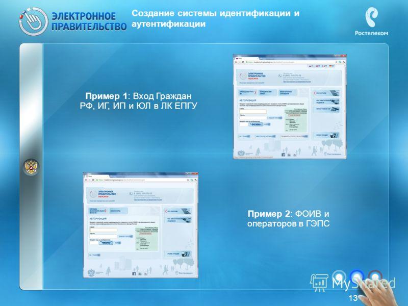 Создание системы идентификации и аутентификации Пример 1: Вход Граждан РФ, ИГ, ИП и ЮЛ в ЛК ЕПГУ Пример 2: ФОИВ и операторов в ГЭПС 13