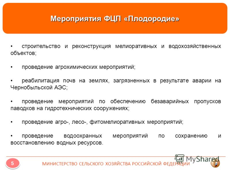 Мероприятия ФЦП «Плодородие» строительство и реконструкция мелиоративных и водохозяйственных объектов; проведение агрохимических мероприятий; реабилитация почв на землях, загрязненных в результате аварии на Чернобыльской АЭС; проведение мероприятий п