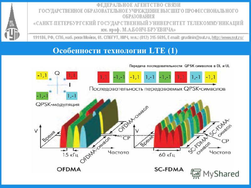Особенности технологии LTE (1) Передача последовательности QPSK символов в DL и UL