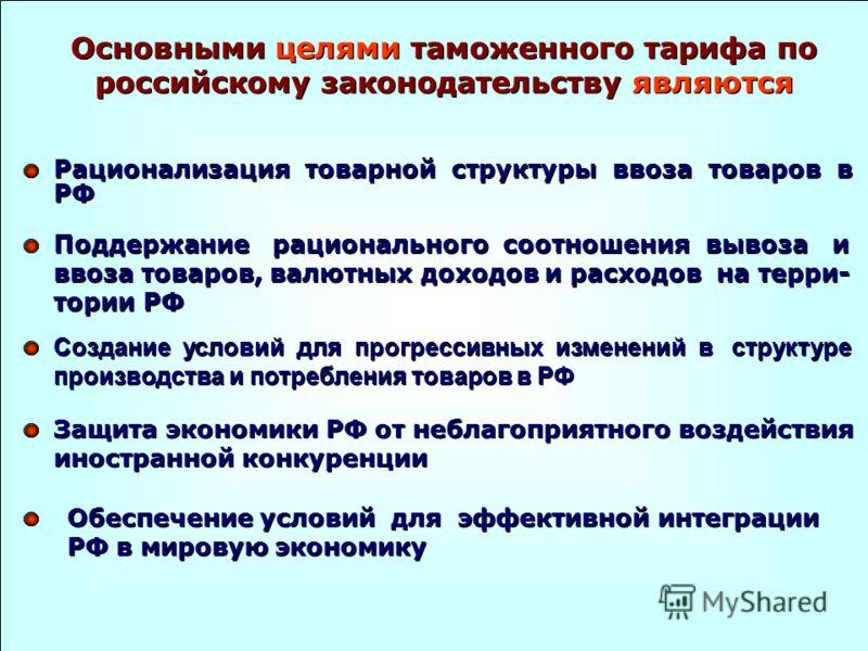 Основными целями таможенного тарифа по российскому законодательству являются Рационализация товарной структуры ввоза товаров в РФ Поддержание рационального соотношения вывоза и ввоза товаров, валютных доходов и расходов на терри- тории РФ Создание ус