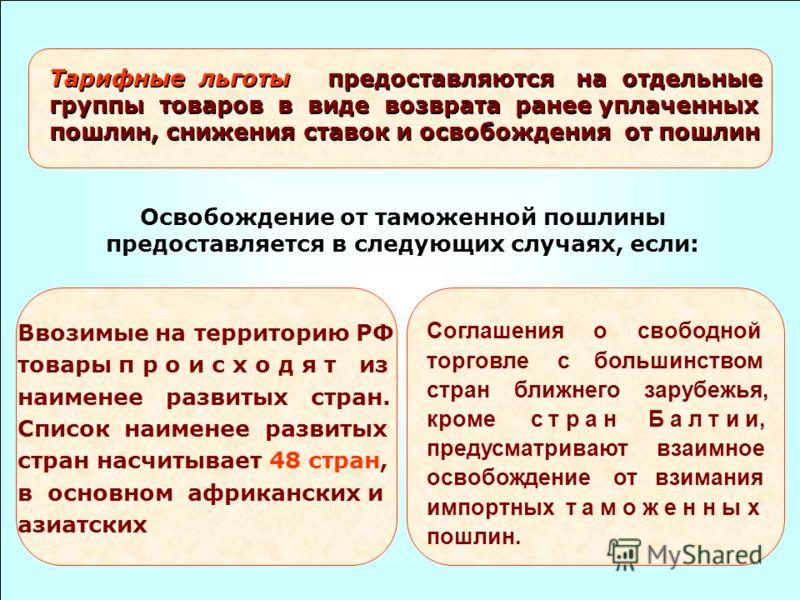 Тарифные льготы предоставляются на отдельные группы товаров в виде возврата ранее уплаченных пошлин, снижения ставок и освобождения от пошлин Освобождение от таможенной пошлины предоставляется в следующих случаях, если: Ввозимые на территорию РФ това